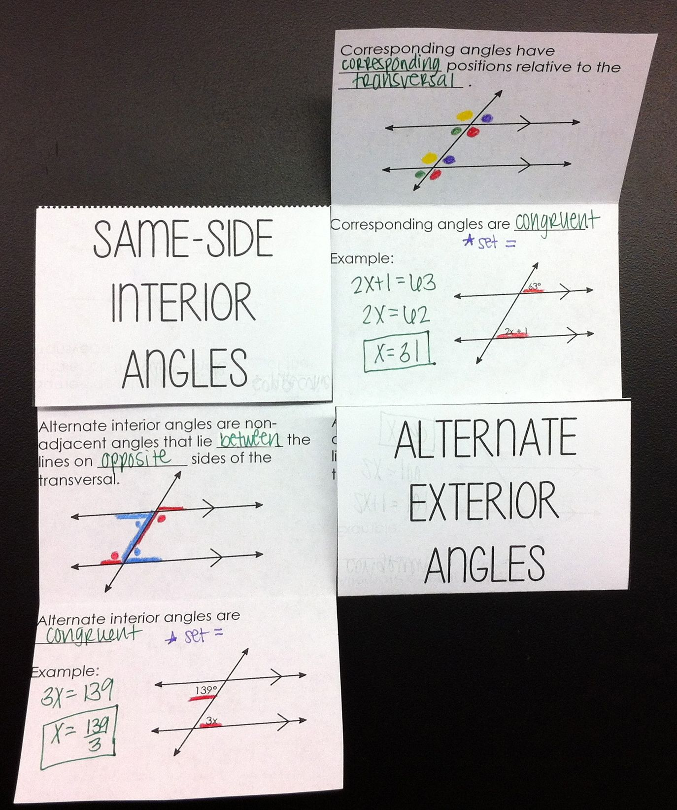 Parallel Lines With Transversals Interactive Foldable Math