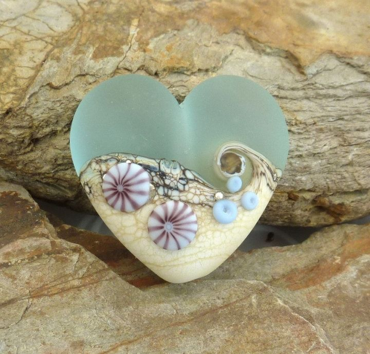 Frosted Beach Heart in palest blue ... handmade by LushLampwork, £17.00