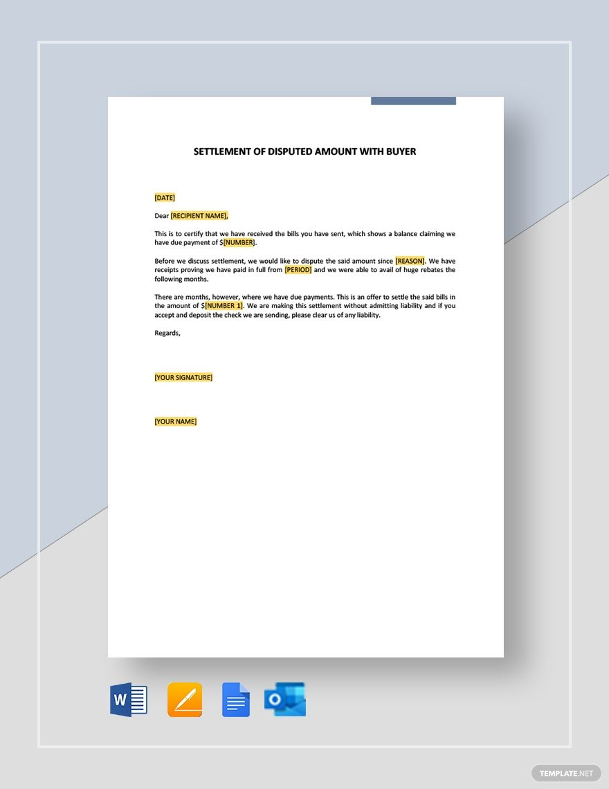 Settlement Of Disputed Amount Buyer Template Ad Paid Disputed Settlement Amount Template Buyer Sales Template Templates Certificate Format