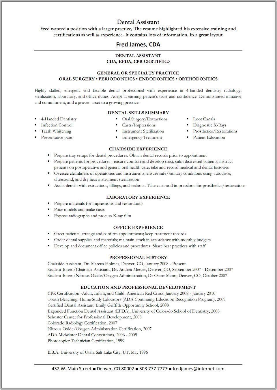 Oberen Dental assistant Job Description for Resume tori