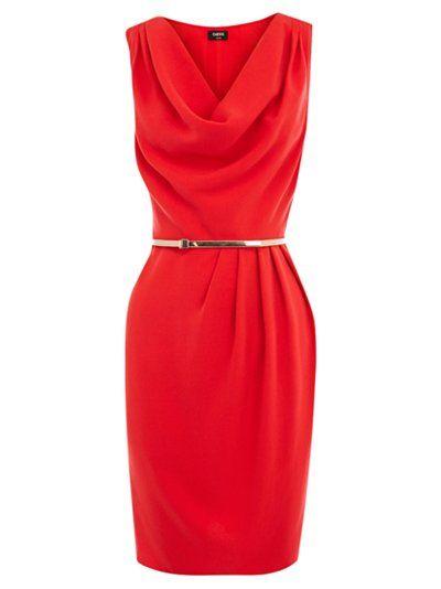 red belted cowlneck dress
