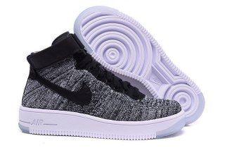 cffca83d9185f Nike Wmns Air Force 1 Ultra Flyknit Mid Black White 818018 001 Mens Womens  Sneakers