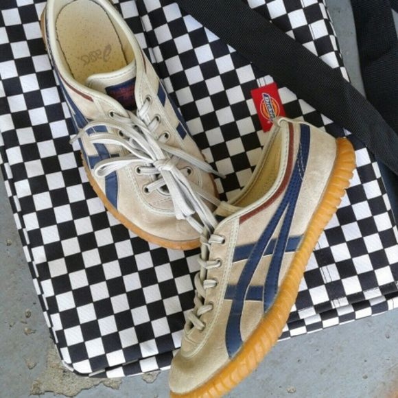 Asics Tigers Men's 6/ Women's 7.5. Great used condition...a stone colored leather upper with blue. Rubber soles are excellent. A few smudges, which is natural to wear. asics Shoes Athletic Shoes