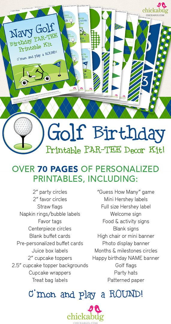 Navy Golf Birthday Party Printable Decor Kit Over 70 Pages Of