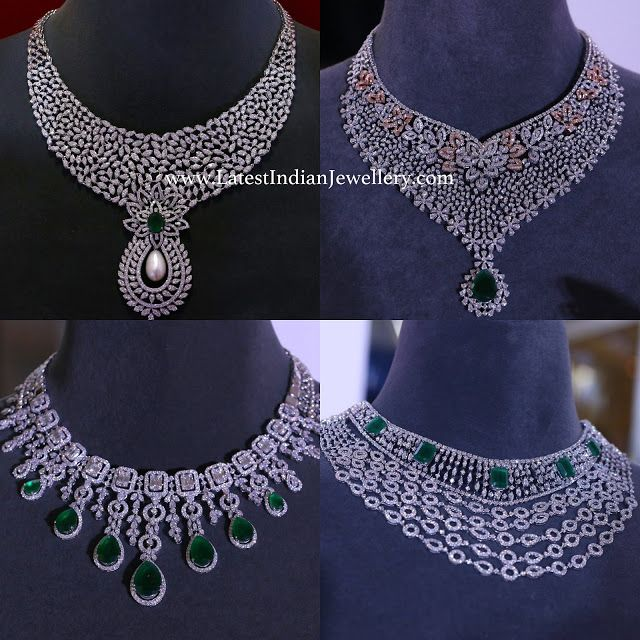 Grand Diamond Necklaces From Tanishq Bridal Diamond Necklace Bridal Diamond Jewellery Diamond Necklace Designs