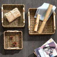 Cuadrada caja de almacenamiento de escritorio escombros canasta de almacenamiento de baño cosméticos de almacenamiento merienda pequeña cesta de paja