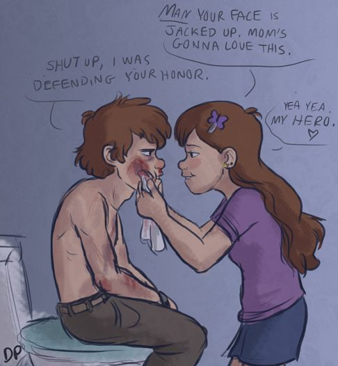 Aw! Sibling love. This is such a sweet drawing of older Mabel and Dipper.