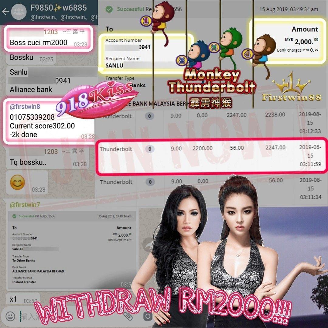 Congratulations to #Firstwin88 #918Kiss MemberF9850 SlotGame #thunderbolt Won PriceRM2000 #GameBonus explore Pinterest