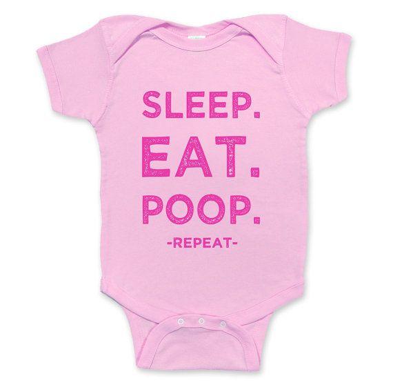 Eat Sleep Poop Repeat BabyGrow Funny Baby Babies Newborn Kids Gift Bodysuit