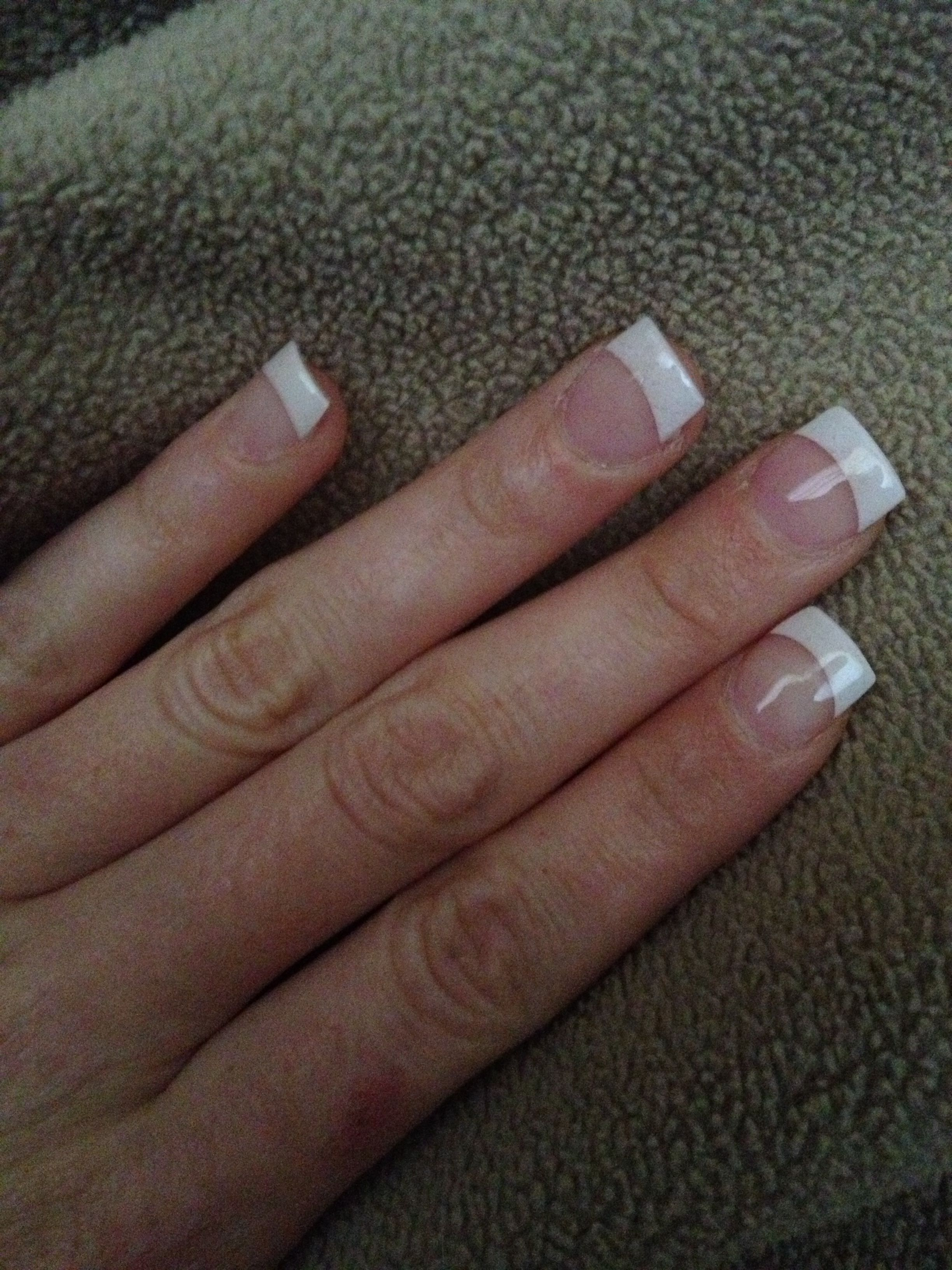 White tip solar nails. Classic French tip. Classy for anything ...