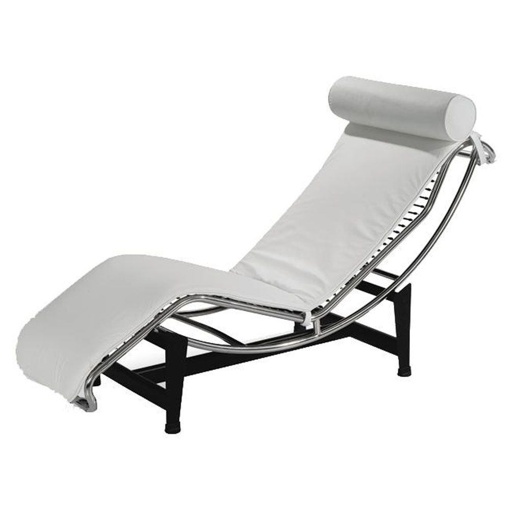 Modern White Leather Chaise Lounge With Metal Frame