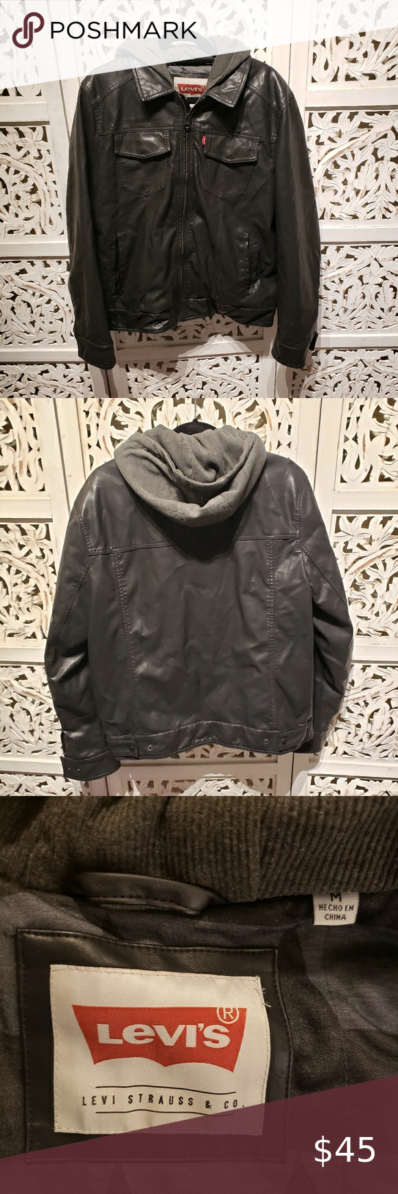Levi's Black and Gray Faux Leather Jacket in 2020