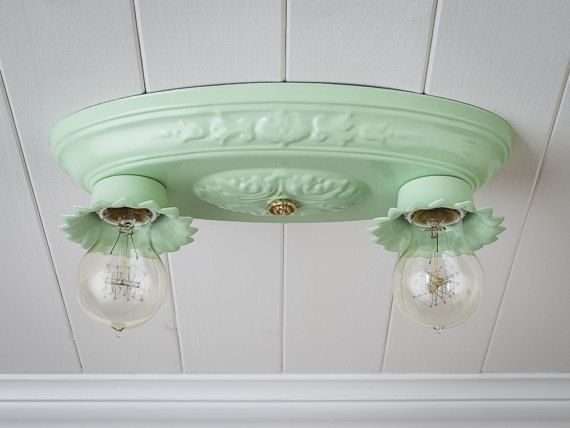 vintage rewired flush mount ceiling light fixture 2 bulb jadeite brass porcelain pair available  vintage rewired flush mount ceiling light fixture      rh   pinterest com