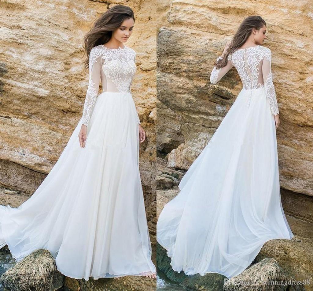 2020 Vintage Beach Long Sleeves Wedding Dresses Chiffon Lace