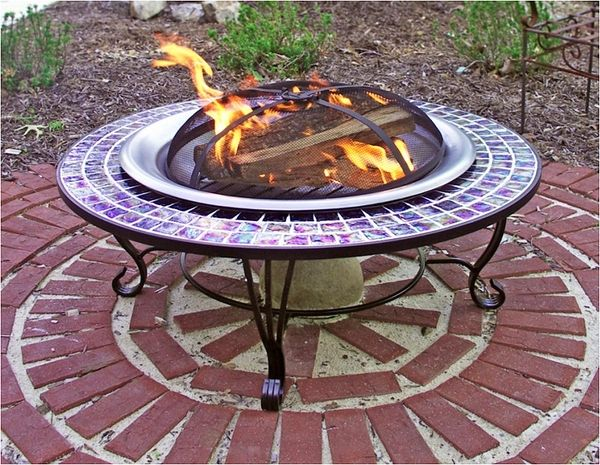 Asia Direct 40 Inch Round Glass Mosaic Fire Pit Table In