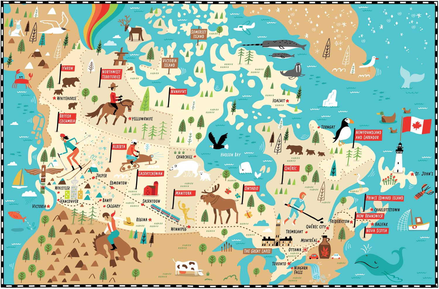 Map Of Canada Halifax.Canada Illustrated Map By Nate Padavick Www Idrawmaps Com Maps
