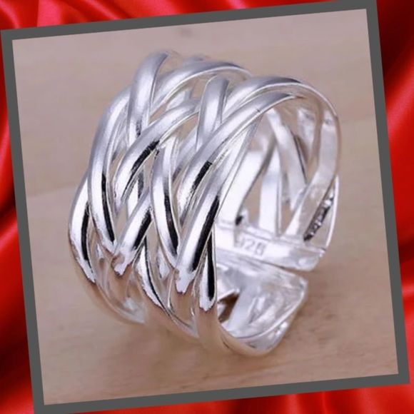 NEW LISTING Sterling silver weaved ring Beautiful Sterling silver, 925 stamped weaved ring. Size is adjustable.NEW4 available Jewelry Rings