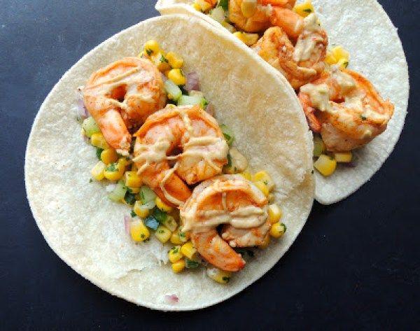 shrimp tacos with corn salsa and chipotle avocado crema. Black Bedroom Furniture Sets. Home Design Ideas