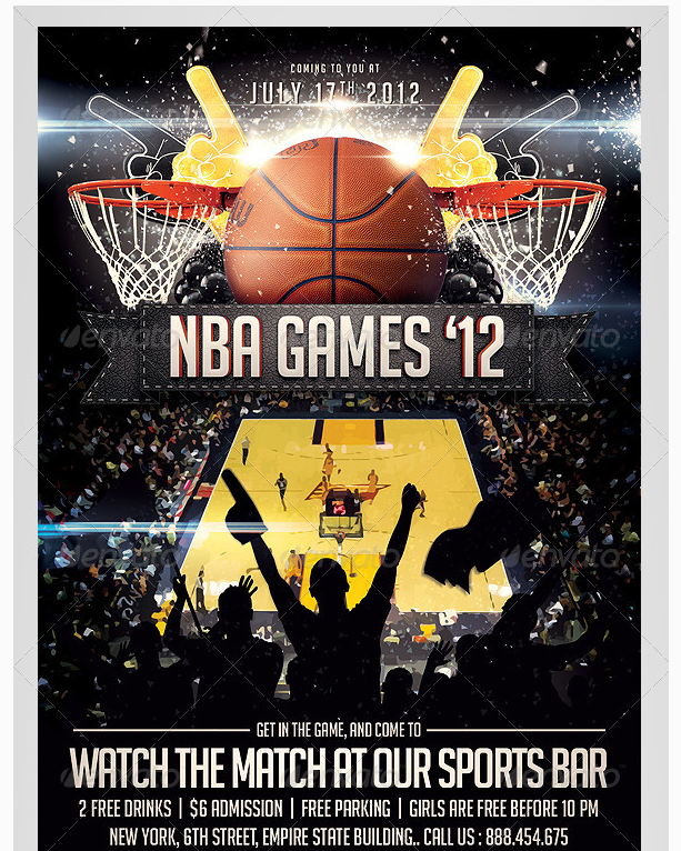 Basketball Sports Flyer Template  Party Flyer Templates For Clubs