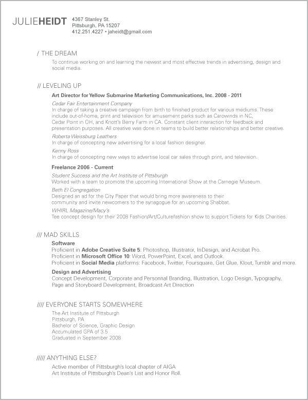 professional resume with a sense of humor Great Design Pinterest