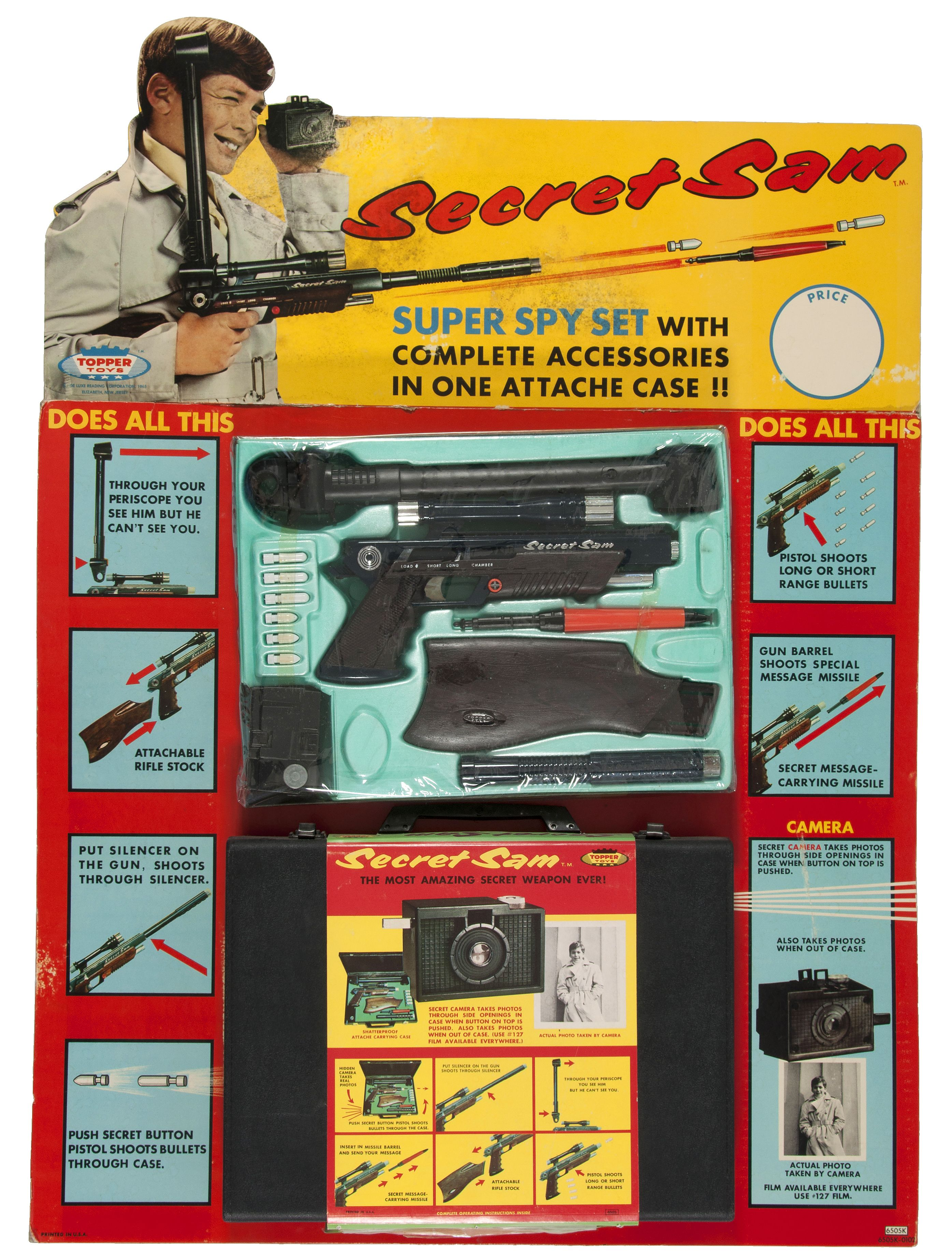 Secret Sam spy attache case store display 1965 By Topper