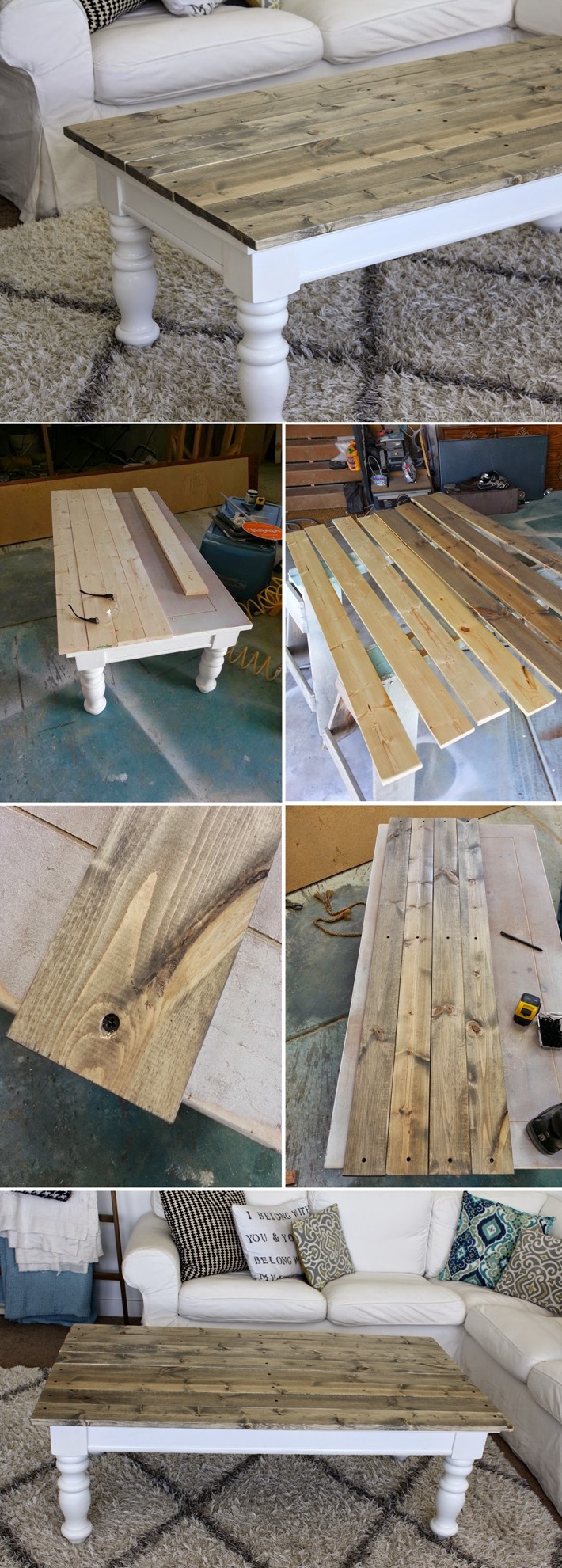 Nifty thrifty momma farmhouse style coffee table diy things farmhouse style coffee table once the legs were painted i measured and cut wood geotapseo Choice Image