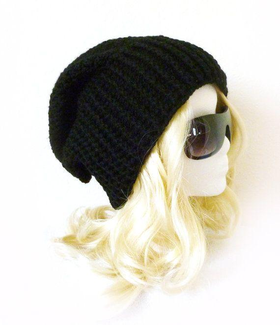 Black Beanie Ribbed rim Opie style hat Slouchy Beanie Biker hat ...