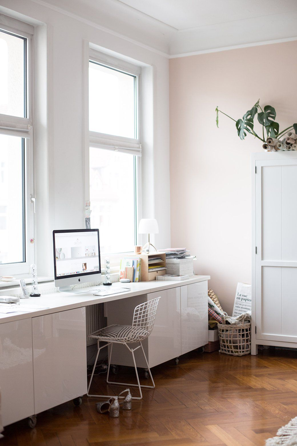 pink home office design idea. Perfect Office Nice Home Office Design Idea With Pink Walls White Table And Large Windows Inside