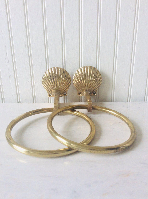 Vintage Brass Seashell Towel Holder Sold Separately Brass Towel Ring Bathroom Decor Coastal Beach Tropical Decor Vintage Brass Towel Holder Vintage Towels
