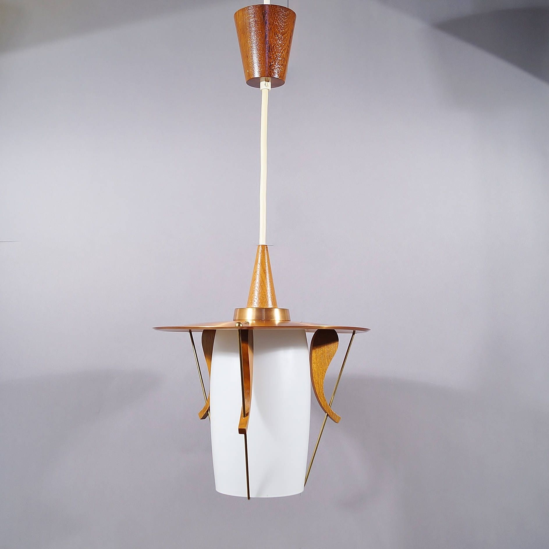 Lampe Kupfer Retro Glass Hanging Lamp 1960s My Favourite Lamps Teak Deckenlampe