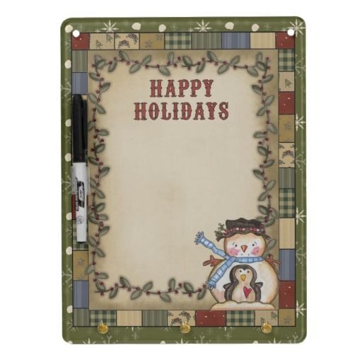 Christmas Snowman Holiday Dry Erase Board