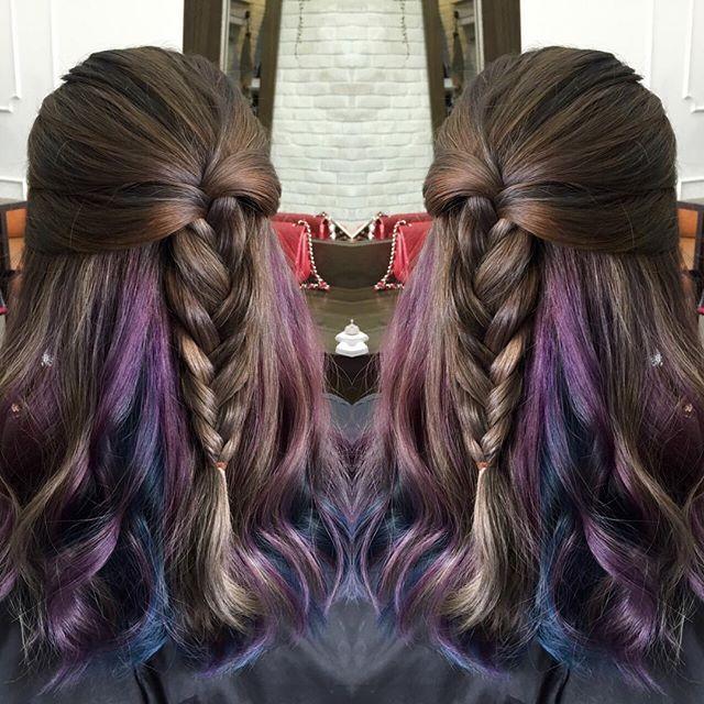 Hidden colors of space purple and blue in between hair layers.  Hair in 2019  Hair, Hidden