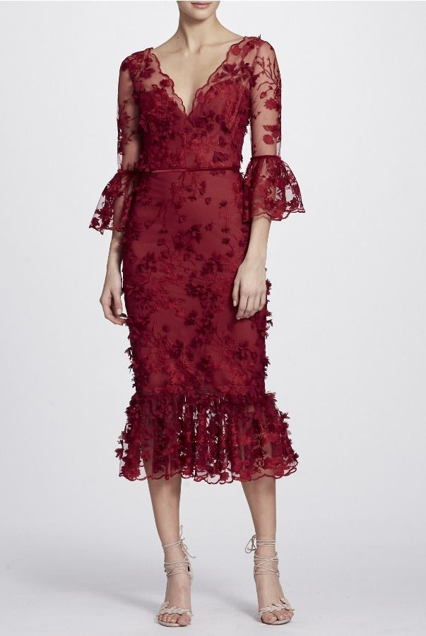 9238c0d7 Marchesa Notte Red Bell Sleeve 3D Embroidered Lace Midi Tea Dress | Poshare
