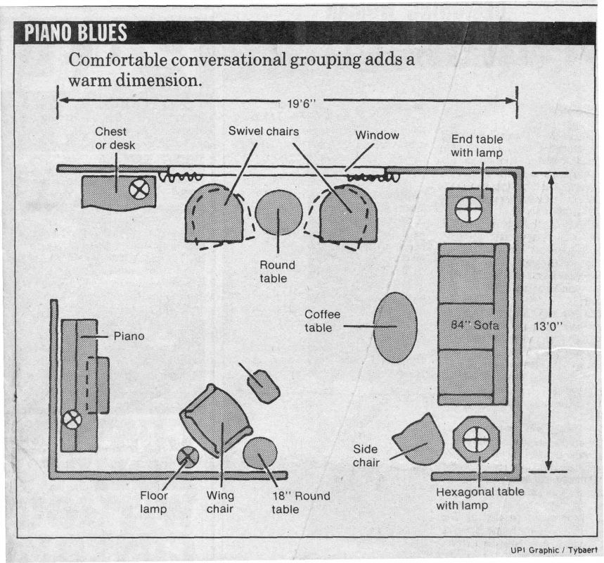 Piano Blues Furniture Arrangement With A Piano In A Room That Is