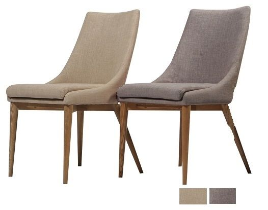 Dan Form Contemporary Moose Dining Chair In Grey Or Beige Fabric