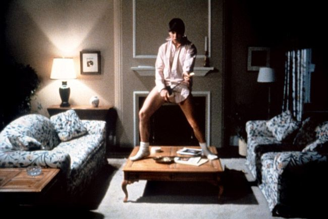 Tom Cruises' button down white shirt, tighty whiteys and white socks in Risky Business.