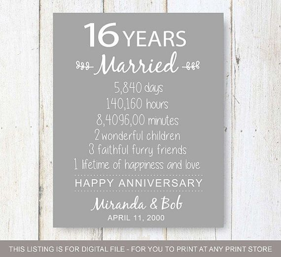 16th Anniversary Gift 16 Years Of Wedding Anniversary 16th Wedding Anniversary 16th Anniversary Gifts Anniversary Diy