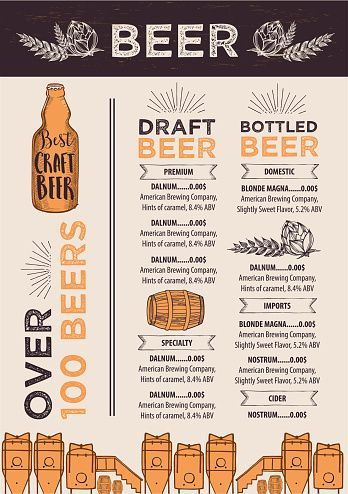 Beer cafe menu, template design. 벡터 아트 일러스트