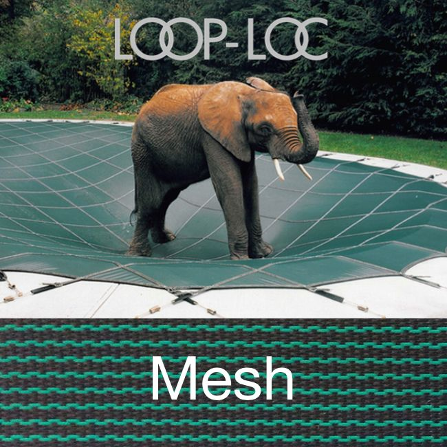 Pool Size: 6-6×6-6 or 7×7 Loop-Loc Green Mesh Round Safety Cover for Inground Pools