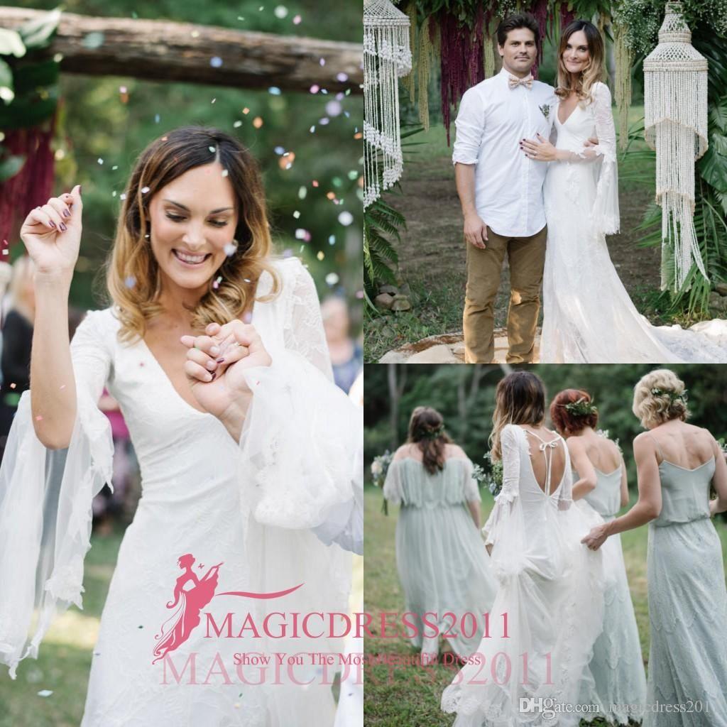 boho summer white lace bare back wedding dresses beach bridal