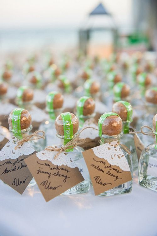 Bottles Of Patron Which Also Double As Favors Brides