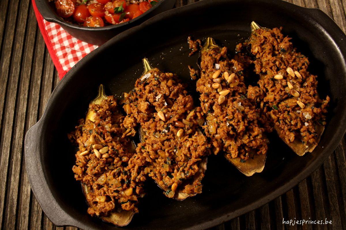 aubergines ottolenghi lamsgehakt pijnboompitten