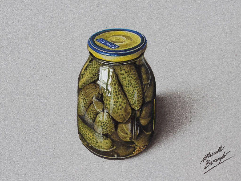 Drawing a glass jar of Pickles - Gherkins by marcellobarenghi.deviantart.com on @deviantART