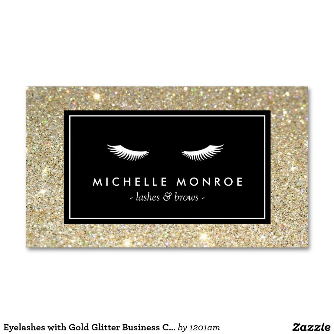 Eyelashes with Gold Glitter Business Card | Zazzle com