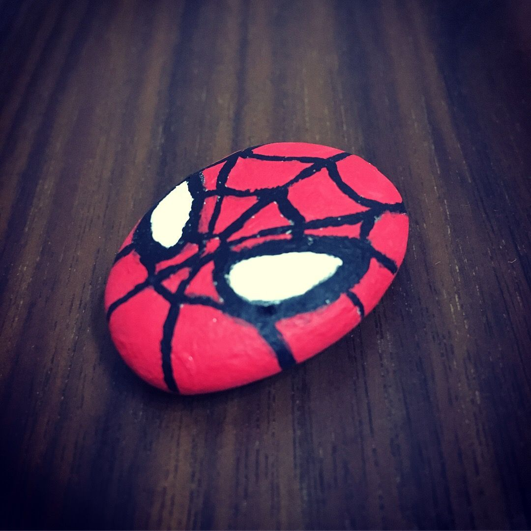 Spiderman Orumcek Adam Stone Painting Tas Boyama Calismasi