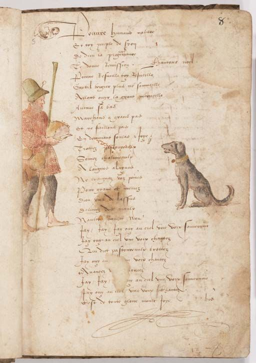 man feeding a dog collection of noels or french christmas carols french 1500 1525