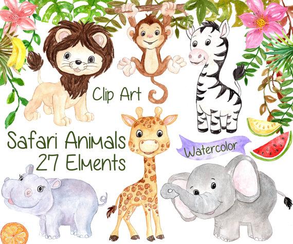 Watercolor Safari Clipart Safari Animals Clipart Etsy Baby Clip Art Animal Clipart Safari Animals