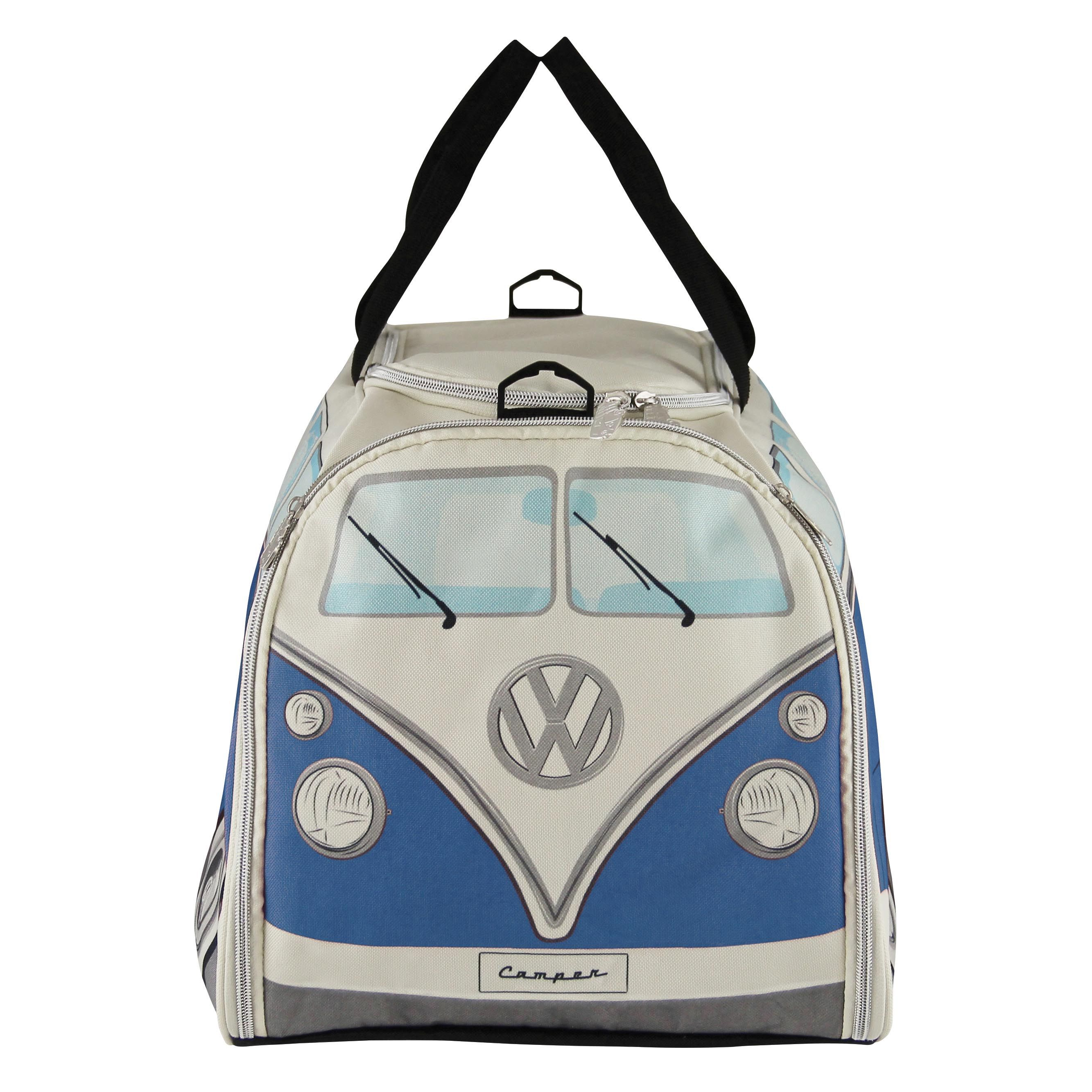 Sport and travel bag, shown here in blue feature classic and VW T1 Bus design. With both hand and shoulder straps, a waterproof inner lining and a flexible base so it may fit into a small locker. Includes separate shoe and wet compartment. #VWStyle #TravelBag. Distributed by Enesco VW Official Licensed Product, ©2015 Enesco Ltd.