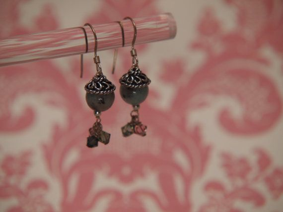Beautiful Sesame Jasper and Crystal Earrings by TheJewelster, $17.50