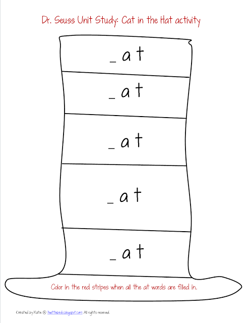 Dr. Seuss printable, Cat in the Hat spelling activity